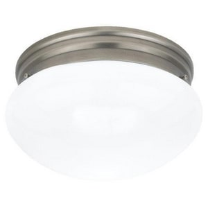 Seagull Lighting Webster 5-1/4 x 9-1/2 in. 60 W 2-Light Medium Flush Mount Close-to-Ceiling Fixture in Antique Brushed Nickel S5328965