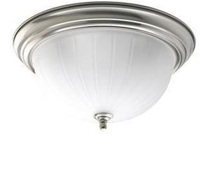 Homestyle Lighting 60 W 2-Light Medium Flush Mount Ceiling Fixture in Brushed Nickel HHS3100409