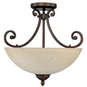 Capital Lighting Fixture Cumberland 16-1/2 in. 60 W 3-Light Medium Semi-Flush Mount Ceiling Fixture in Brushed Bronze C3025BB