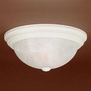 Millennium Lighting 11 in. 120W 2-Light Medium E-26 Flush Mount Ceiling Fixture with Faux Alabaster Glass in Textured White M561TW