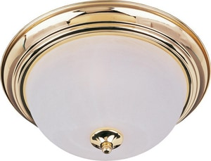 Maxim Lighting International 11-1/2 in. 75 W 1-Light Iron Medium Flush Mount Ceiling Fixture in Polished Brass M5840MRPB