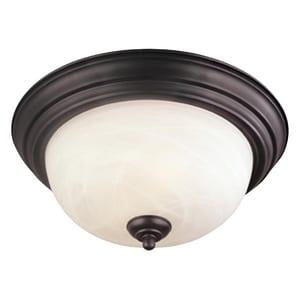 Thomas Lighting 60 W 1-Light Flush Mount Ceiling Fixture in Painted Bronze TSL869163