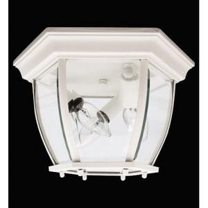 Capital Lighting Fixture 60 W 3-Light Candelabra Outdoor Semi-Flush Mount Ceiling Fixture in White C9802