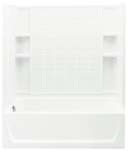 Sterling Ensemble™ 60 x 32 in. Vikrell Left Hand Drain Tub and Shower with Age in Place Backers in White S711201180