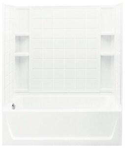 Ensemble™ 60 x 32 in. Vikrell Left Hand Drain Tub and Shower in White S711201120