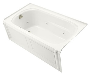 KOHLER Portrait® 60 x 32 in. 3-Wall Alcove Whirlpool with Integral Apron and Left Hand Drain in White K1109-LA-0