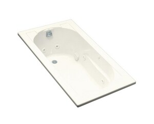 Kohler Devonshire® 60 x 32 in. Thermal Air Drop-In Bathtub with Reversible Drain in Biscuit K1357-H-96