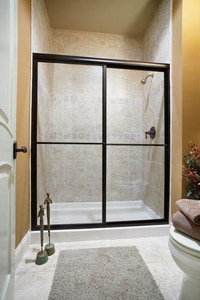Basco Shower Enclosures Deluxe 71-1/2 x 48 in. Framed Sliding Shower Door with Obscure Glass in Silver B715042