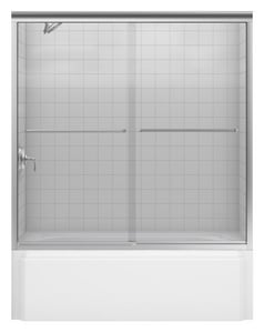KOHLER Fluence® 58-5/16 x 56-5/8-59-5/8 in. Sliding Bath Door with 1/4 in. Thick Crystal Clear Glass in Matte Nickel K702200-L-MX