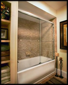 Basco Shower Enclosures Infinity 57 x 60 in. Frameless Sliding Tub Door with Clear Glass in Silver B440060CL