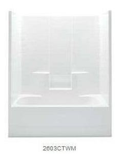 Aquatic Industries Everyday 60 x 33-1/4 in. Tub & Shower Unit with Right Drain in White A2603CTWMRWH