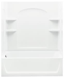 Ensemble™ 74 x 60 x 32 in. Vikrell Left Hand Drain Tub and Shower in White S712201100