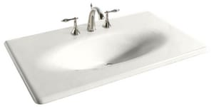 KOHLER Iron/Impressions® 37-5/8 in x 22-1/4 in Single Bowl Enameled Cast Iron Vanity Top in White K3051-1-0