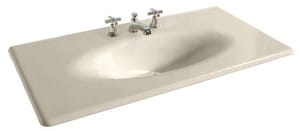 KOHLER Iron/Impressions® 43-5/8 in. 3-Hole 1-Bowl Enameled Cast Iron Vanity Top Lavatory Sink in Almond K3052-8-47