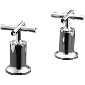 KOHLER Purist® Deckmount High Flow Bath Valve Trim with Double Cross Handle in Vibrant Polished Nickel KT14429-3-SN