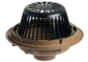 Jay R. Smith 1000 Series 3 in. Threaded Roof Drain with Flashing Clamp and Polyethylene Dome S1010T