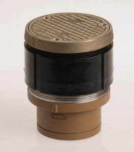 Jay R. Smith Twis-To-Floor® 4 in. Spigot Floor Cleanout with Round Top Polished Brass S4020SPBP