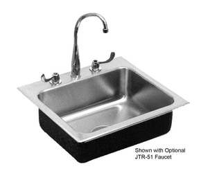 Just Manufacturing Stylist Group 20 ga 2-Hole 1-Bowl Kitchen Sink with Center Drain and Faucet Ledge in Brushed Steel JSL1921B2
