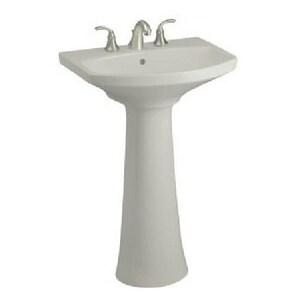 Kohler Cimarron® 3-Hole Pedestal Bathroom Sink with Widespread Faucet in Ice Grey K2362-8-95