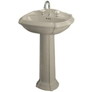 KOHLER Portrait® 3-Hole Pedestal Oval Widespread Bathroom Sink with 8 in. Faucet Centerset and Center Drain in Sandbar K2221-8-G9