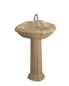 Kohler Portrait® 3-Hole Pedestal Oval Widespread Bathroom Sink with 8 in. Faucet Centerset and Center Drain in Mexican Sand K2221-8