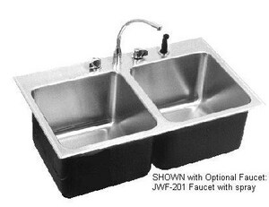 Just Manufacturing Stylist Group 18 ga 3-Hole 2-Bowl Kitchen Sink with Center Drain and Extra Deep Faucet Ledge in Brushed Steel JDLXD2233A3