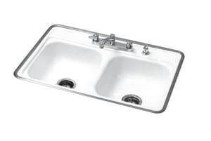 Bootz Manufacturing Garnet 32 X 21 In 4 Hole Enameled Steel Double Bowl Drop In Kitchen Sink In White 031 2781 0k Ferguson
