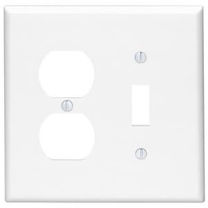 Leviton 2-Gang Mid Size Combination Plate in White L80505W
