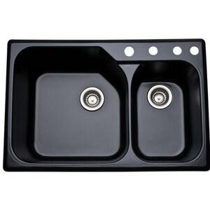 ROHL® Allia 4-Hole 2-Bowl Kitchen Sink in Matte Black R632763