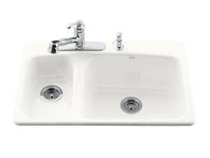 Kohler Lakefield™ 4-Hole 2-Bowl Topmount High and Low Kitchen Sink in White K5924-4-0