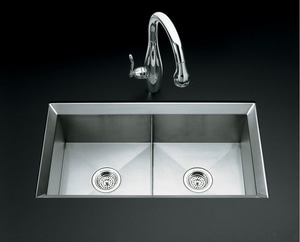 KOHLER Poise® 33 x 18 in. No Hole Double Bowl Undermount Kitchen Sink in Stainless Steel K3388-NA