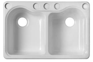 Kohler Hartland® 33 x 22 in. 5 Hole Cast Iron Double Bowl ...