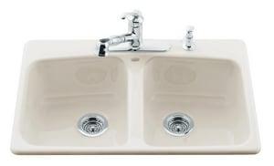 Kohler Brookfield™ 4-Hole 2-Bowl Topmount Kitchen Sink in Almond K5942-4-47