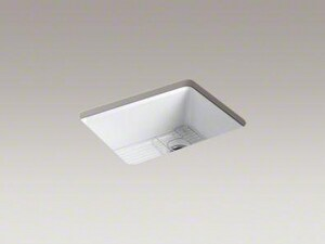 Kohler Riverby® 25 x 22 in. 5 Hole Cast Iron Single Bowl Undermount Kitchen Sink in White K5872-5UA1-0