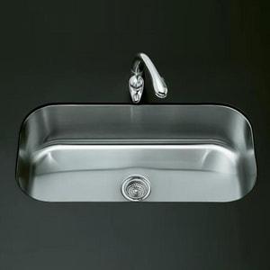KOHLER Undertone® 35-1/2 x 18-1/2 in. No Hole Single Bowl Undermount Kitchen Sink in Stainless Steel K3376-NA