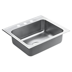 Moen Lancelot® 3-Hole 18 ga 1-Bowl Drop-In Kitchen Sink with Center Drain MS22338