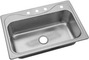 Sterling Southhaven® 4-Hole 1-Bowl Stainless Steel Topmount Kitchen Sink with Center Drain S370474NA