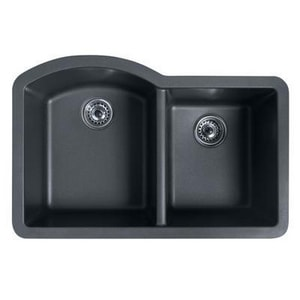 Swan Corporation 32 x 21 in. Composite Double Bowl Undermount Kitchen Sink in Espresso SQU03322DB
