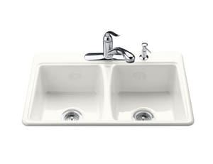 KOHLER Deerfield® 3-Hole 2-Bowl Topmount Kitchen Sink in White K5815-3-0