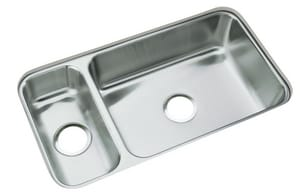 Sterling McAllister® 31-3/4 x 17-1/2 in. No Hole Stainless Steel Double Bowl Undermount Kitchen Sink in Luster Stainless Steel SUCL3322R