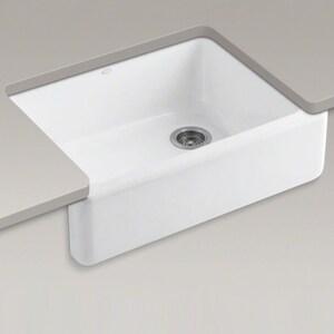 KOHLER Whitehaven® 29-11/16 x 21-9/16 in. No Hole Cast Iron Single Bowl Apron Front Kitchen Sink in Black Black™ K6487-7