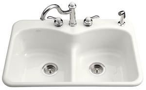 Kohler Langlade® 3-Hole Double Equal Kitchen Sink with P-Trap in White K6626-3-0
