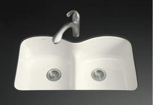 KOHLER Langlade® 33 x 22 in. 5 Hole Cast Iron Double Bowl Undermount Kitchen Sink in Biscuit K6626-6U-96