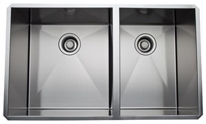 ROHL® Luxury® 32-3/4 x 19-1/2 in. Stainless Steel Double Bowl Undermount Kitchen Sink RRSS3118SB