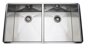 ROHL® Luxury® 36-3/4 x 19-1/2 in. Stainless Steel Double Bowl Undermount Kitchen Sink RRSS3518SB