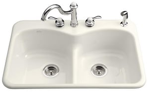 KOHLER Langlade® Smart Divide® 5-Hole Double Equal Kitchen Sink with P-Trap in Biscuit K6626-5-96