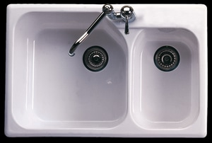 ROHL® Allia 1-Hole 2-Bowl Undermount Kitchen Sink in White R631700
