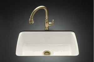 KOHLER Cape Dory® 33 x 22 in. 5 Hole Cast Iron Single Bowl Undermount Kitchen Sink in Biscuit K5864-5U-96