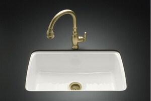 KOHLER Cape Dory® 33 x 22 in. 5 Hole Cast Iron Single Bowl Undermount Kitchen Sink in White K5864-5U-0