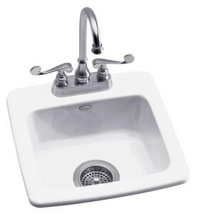KOHLER Gimlet™ 15-1/4 x 15-1/4 in. 1 Hole Drop-in Acrylic Bar Sink in White K6015-1-0